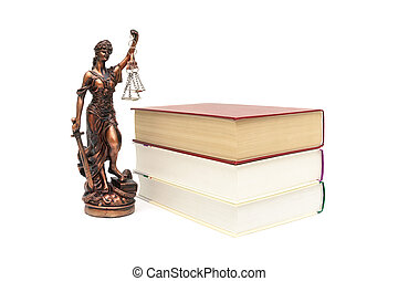 statue of justice and books on white background
