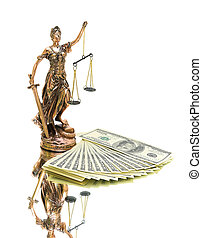 statue of justice and money on white background.