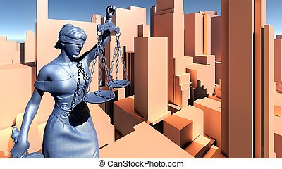 Statue of justice, Crime in city concept, Temida - Themis 3d rendering