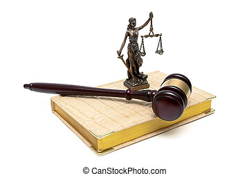 statue of justice, gavel and book on a white background