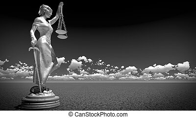 Statue of justice, Law concept, Temida - Themis 3d rendering