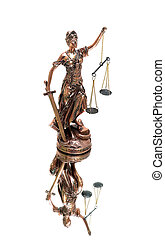 statue of justice on a white background with mirror reflection