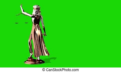 Statue of Justice, Themis, Femida with scales and a sword in his hands. 3d render. Green screen.