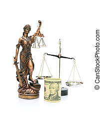 Statue of Justice, U.S. dollars and scales isolated on white background. vertical photo.