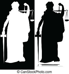 statue of justice vector silhouette