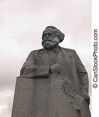 Statue of Karl Marx in Revolution Square Moscow Russia