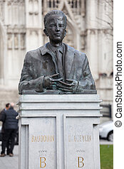 Statue of King Baudouin in Brussels - Bust and statue of...
