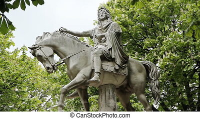 Statue of King Louis XIII - Marble equestrian statue of King...