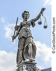 Statue of Lady Justice in front of the Romer in Frankfurt - ...