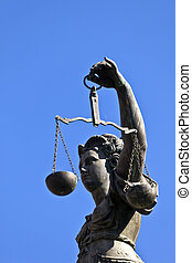 """Statue of Lady Justice """"Justitia"""" in front of the Romer in..."""