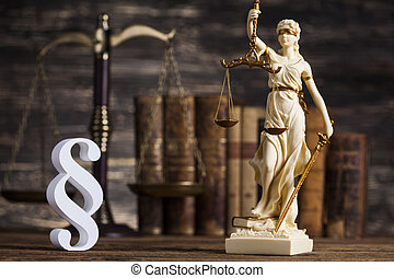 Statue of lady justice, Law concept and paragraph - Mallet,...