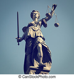 Lady Justice - Statue of Lady Justice with retro effect.