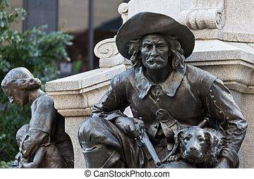 Statue of Lambert Closse at the Maisonneuve Monument at ...