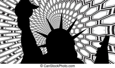 Statue of liberty against black and white tunnel background