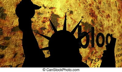Statue of liberty against blog background