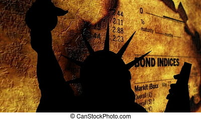 Statue of liberty against bond indices
