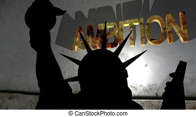 Statue of liberty against broken ambition background