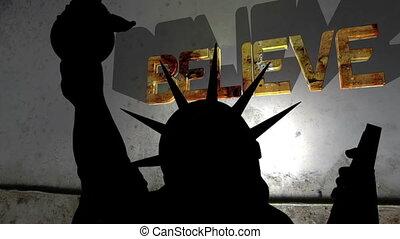 Statue of liberty against broken believe background