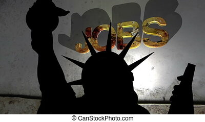 Statue of liberty against broken jobs background