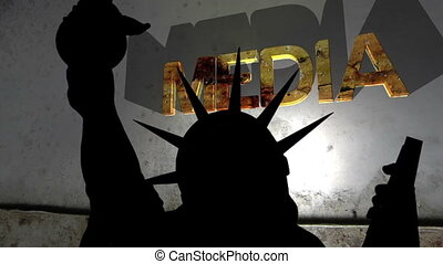 Statue of liberty against broken media background