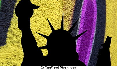 Statue of liberty against colorful  background