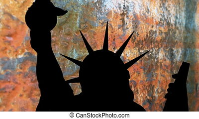 Statue of liberty against grunge background