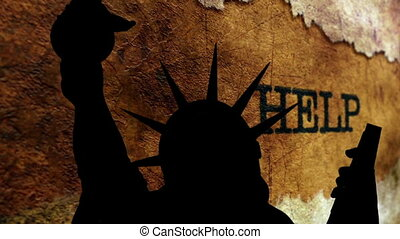 Statue of liberty against help grunge text