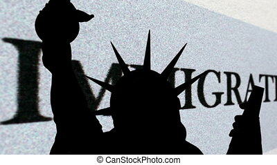 Statue of liberty against immigration background
