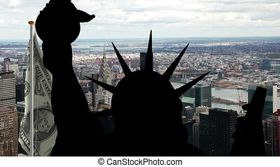 Statue of liberty against NY city