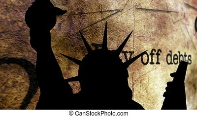 Statue of liberty against pay off debt background