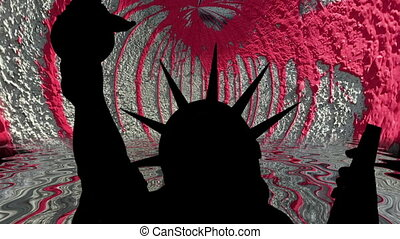 Statue of liberty against red paint wall