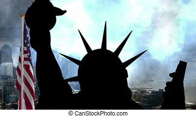 Statue of liberty against USA flag and New York -  Statue...