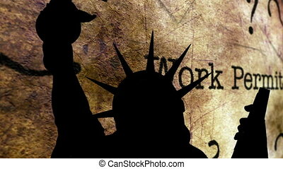 Statue of liberty against work permit background