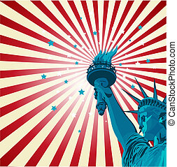 Statue of liberty - An radial poster with the statue of...