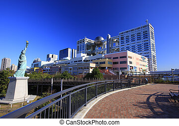 Statue of Liberty and buildings around Daiba