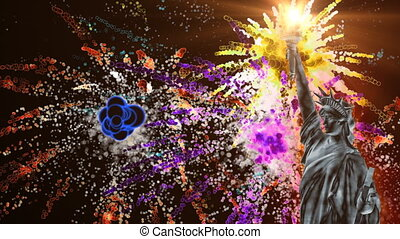 Statue of Liberty and colorful fireworks