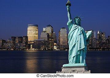 Statue of Liberty and New York City Skyline - The landmark ...