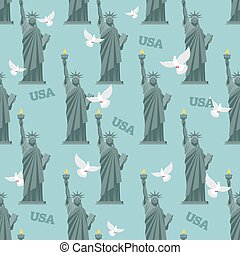 Statue of Liberty and pigeon seamless pattern. National symbol of America background. Texture of attractions of New York. Symbol of democracy and freedom. Patriotic ornament for fabric