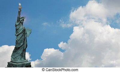 Statue of Liberty and sky - Statue of Liberty and time lapse...