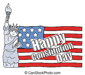 Statue of Liberty and US Flag - Constitution Day Vector...
