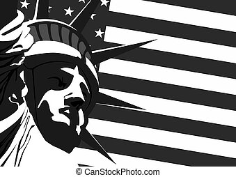 """Fragment of """"Statue of Liberty"""" against the U.S. flag."""
