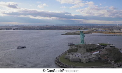 statue of liberty at cloudy day new york city