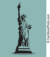 Statue of Liberty Black Silhouette Vector Illustration.