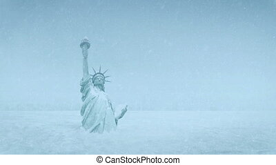 Statue Of Liberty Buried In Snow Global Cooling - The Statue...