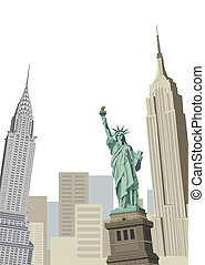 Statue of Liberty - Background illustration with Statue of...