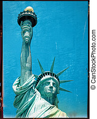 Statue of liberty closeup against clear blue sky