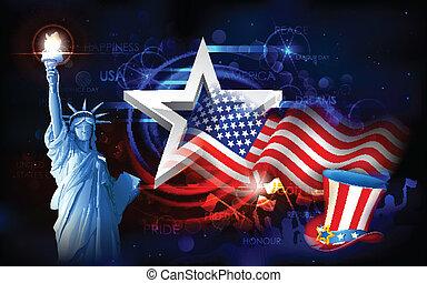 statue of liberty, con, bandera estadounidense