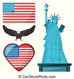 statue of liberty, eagle and american flag