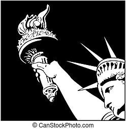 statue of liberty, en, vector