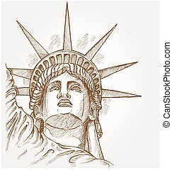 statue of liberty face hand dawn